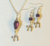 Magenta Metallic Sheen Crystal Necklace/Earrings Set with Chai
