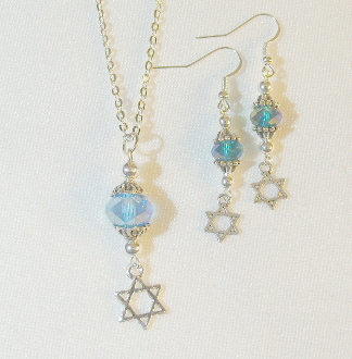 AB Aqua Crystal Necklace/Earring Set with Star of David Charms
