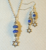 Lapis Lazuli Stack Necklace/Earring Set with Star of David Charm