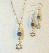 Lapis Lazuli Necklace/Earring Set with Star of David Charms