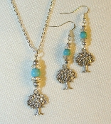 Turquoise Necklace/Earrings Set with Tree of Life Charms