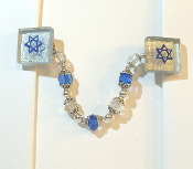 Silver Back Glass Tile Tallit Clips with Blue Star of David