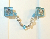 Baby Blue Glass Tallit Clips