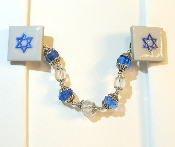 White Ceramic Tile Tallit Clips with Blue Star of David
