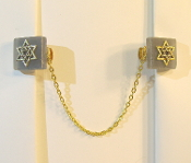 Frosted Gray Glass with Gold Star of David Tallit Clips