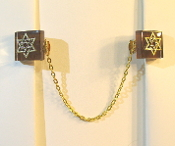 Dark Brown Glass Tile Tallit Clips with Gold Star of David Charm