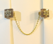 Light Brown Glass Tallit Clips with Gold Star of David Charms