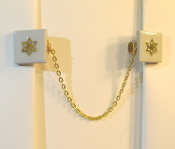 White Ceramic Tile Tallit Clips with Gold Star of David