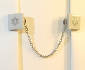 White Ceramic Tile Tallit Clips with Silver Star of David