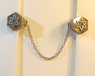 Marble Hexagon Tallit Clips with Silver Star of David Charms