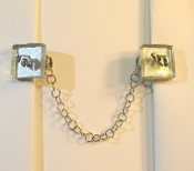 Silver Back Glass Tile Tallit Clips with Chai Charms