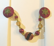 Deep Red and Gold Tallit Clips