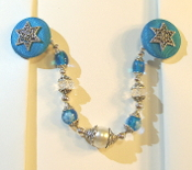 Capri Blue and Silver Tallit Clips