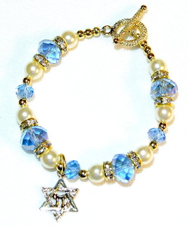Light Sapphire Blue Crystal Bracelet in Gold