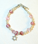 Pink Glass Bead and Crystal Bracelet