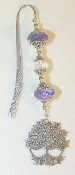 Purple and Clear Crystal Bookmark with Large Tree of Life