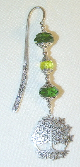 Green Crystal Bookmark with Large Tree of Life