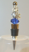 Sapphire, Lt Blue, and Clear Crystal Wine Bottle Stopper