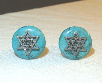 Silver Star of David on Turquoise Cuff Links