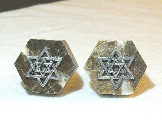 Silver Star of David on Marble Hexagon Cuff Links