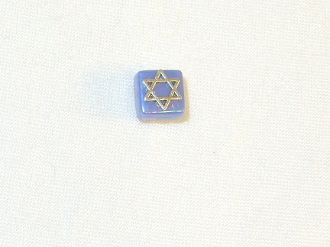 Blue Ceramic with Silver Star of David Tie Tack
