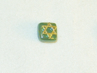 Green Ceramic with Gold Star of David Tie Tack