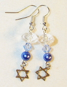 Clear, Lt Sapphire Crystals and Blue Pearl Earrings