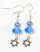 Blue Pearl and Sapphire Crystal Earrings
