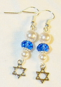Sapphire Crystal with White Pearls Earrings