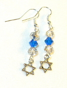 Aqua and Silver Crystal Earrings