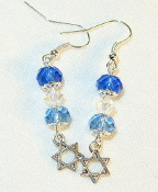 Sapphire, Clear, and Aqua Crystal Earrings