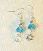Aqua Crystals with Silver Bead Earrings