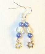 Blue Pearls and Silver-Lined Clear Glass Earrings