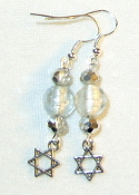 Silver Crystals and Silver-Lined Clear Glass Earrings