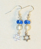 Sapphire Blue Crystals with Silver-Lined Clear Glass Earrings