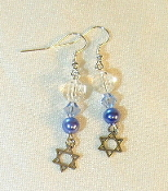 Clear, Lt Sapphire, and Blue Pearl Earrings