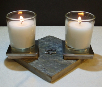 Stone Shabbat Candle Stand