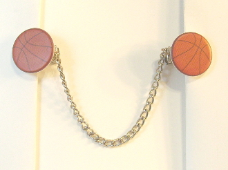 Sports Themed Tallit Clips - Basketballs (Smaller)