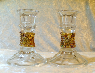 Beaded Candlestick Holders - Mixed Golden Colors