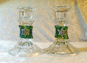 Beaded Candlestick Holders - Mixed Greens