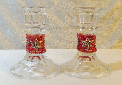 Beaded Candlestick Holders - Pomegranate Red