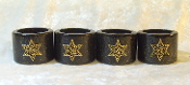 Napkin Rings - Black Lacquer with Gold Star of David
