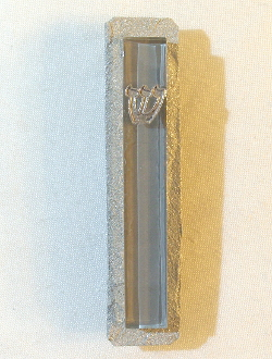 Gray Glass and Steel Mezuzah
