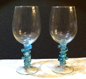 Aqua Beaded Wine Glasses