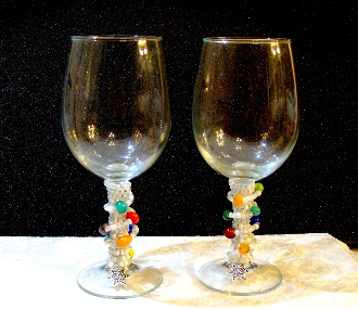 White and Multi-Colored Beaded Wine Glasses