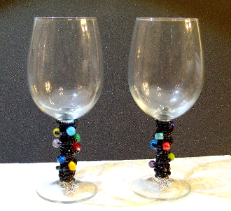 Black and Multi-Colored Beaded Wine Glasses