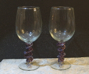 Purple Beaded Wine Glasses