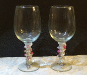 White and Pink Beaded Wine Glasses