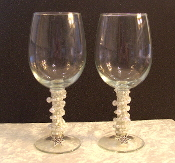 White Pearl Beaded Wine Glasses