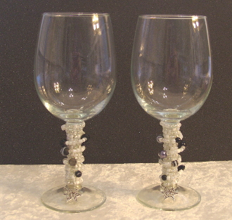 Black and White II Beaded Wine Glasses